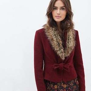 Forever 21 maroon fur jacket size M red tie